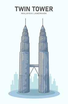 Twin tower malaysia landmark minimalist  illustration