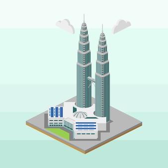 아이소 메트릭에서 말레이시아의 트윈 타워