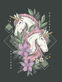 Twin unicorn luxury art print