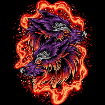 Twin wolf head with fire