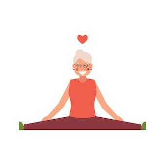 Шпагат протягивая зрелую старшую женщину, изолированную на белом изолированном фоне. иллюстрация