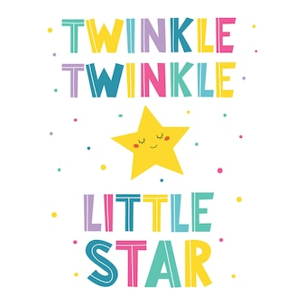 Twinkle twinkle little star hand drawn inscriptionbanner for kids birthday design
