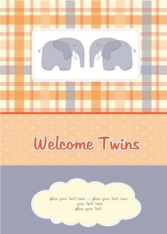 双子のベビーシャワーカードと2匹のゾウ
