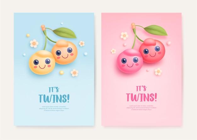 双子のベビーシャワーの招待状