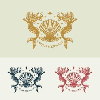 Twins mermaid elegant logo concept illustration