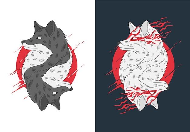 双子のオオカミ手描きイラスト