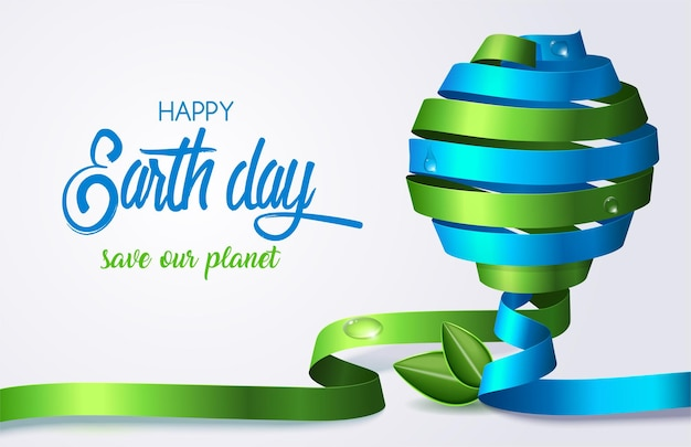 Вращайте зеленую и синюю ленту в форме земного шара