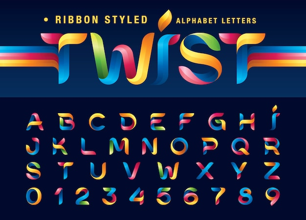 Twist ribbons alphabet letters and numbers, modern origami stylized rounded