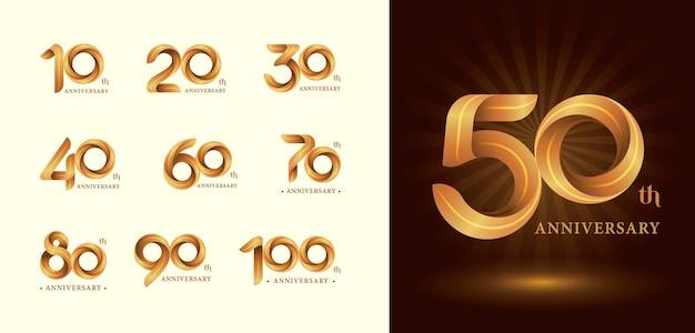 ツイストリボンのロゴ、折り紙の定型化された数字、記念日のロゴ