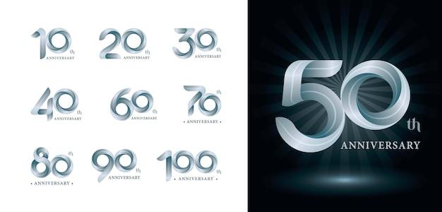 ツイストリボンロゴ、折り紙の定型化された数字文字、