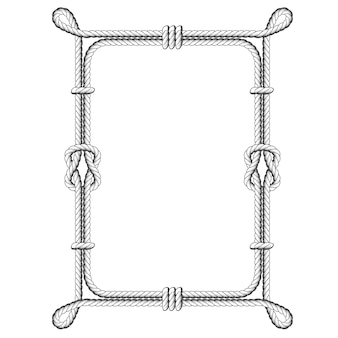 Twisted rope square frames with knots and loops
