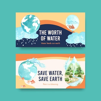 Twister template with world water day concept design for social media and community watercolor illustration