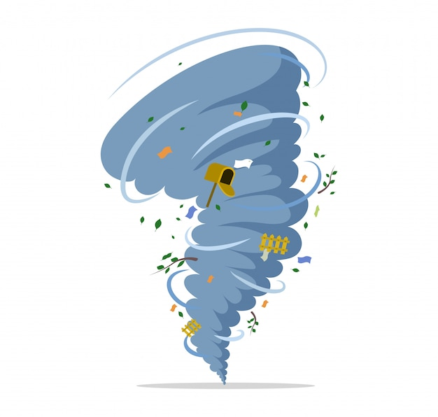 Twisting tornado flat illustration. natural disaster, hurricane or storm, cataclysm and catastrophe.