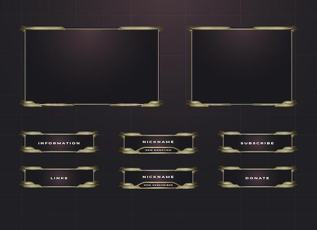 Twitch border and menu panel overlay design set