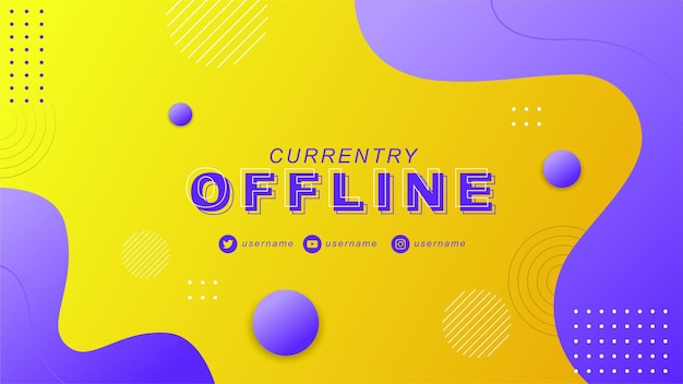 Twitch офлайн с современным абстрактным фоном баннера