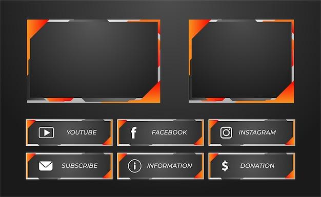 오렌지 색상의 트 위치 패널 게임 스트리밍 프리미엄 벡터