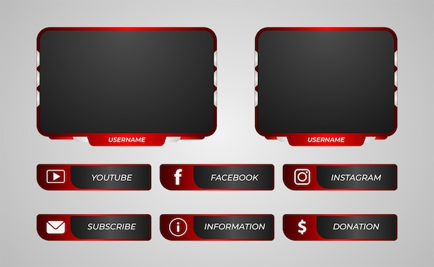 Twitch panels overlay red gradient color for game streaming
