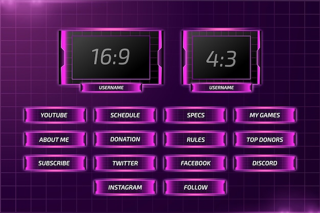 Twitch stream neon panels set
