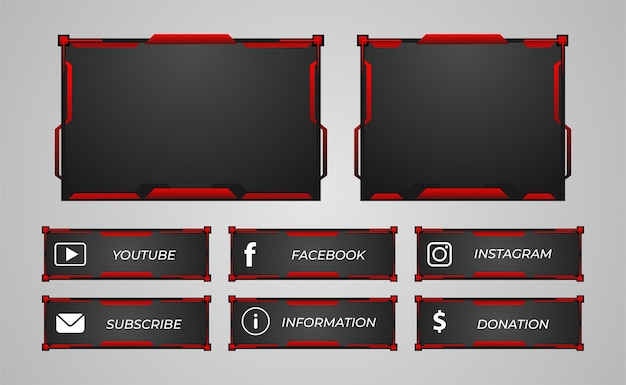 Twitch streamer panel overlay set red color