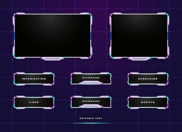 Twitchストリーミングパネルオーバーレイデザインテンプレート