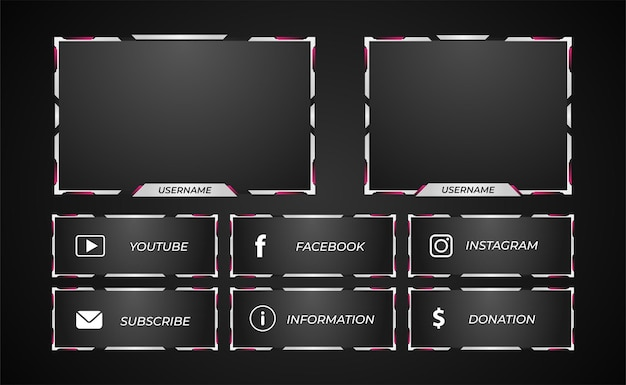 Twitch streaming panel overlay style white and purple