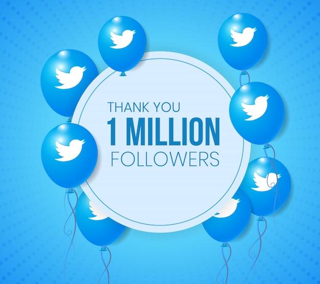 Twitter 3d balloons frame for banner and milestone achievement presentation