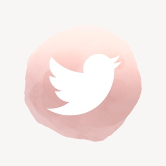 Twitter app icon vector with a watercolor graphic effect. 2 august 2021 - bangkok, thailand