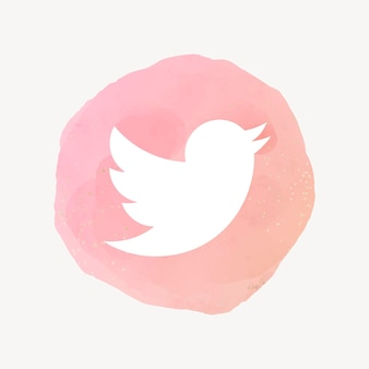 Twitter app icon vector with a watercolor graphic effect. 21 july 2021 - bangkok, thailand