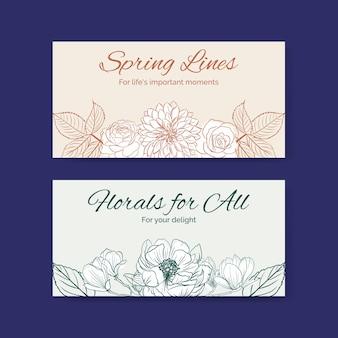 Modello di banner di twitter con illustrazione dell'acquerello di disegno di concetto di arte di linea di primavera