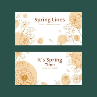 Twitter banner template with spring line art concept design watercolor illustration
