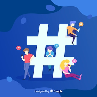 Twitter hashtag. teenagers on social media. character design.