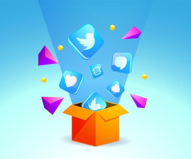 상자에서 나온 트위터 아이콘