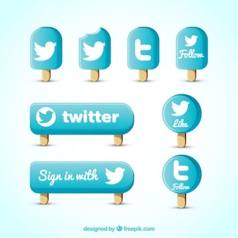 Twitter icon set Free Vector