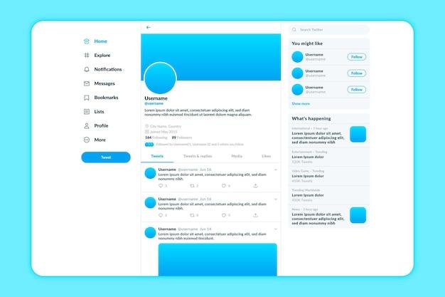 Modello di tema luce interfaccia twitter