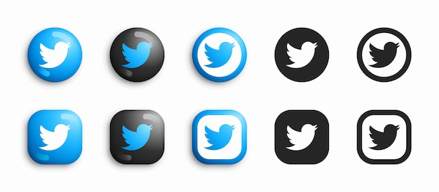 Twitter modern 3d and flat icons set Premium Vector