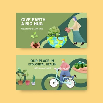 Twitter template design for world environment day.save earth planet world concept  watercolor vector