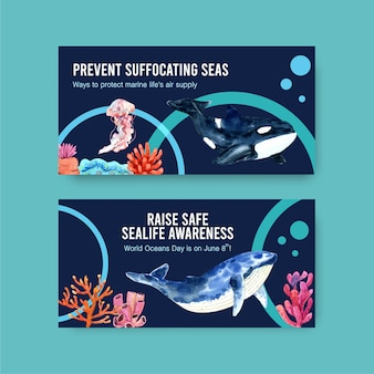 Twitter template design for world oceans day concept with marine animals,jellyfish and orca watercolor vector