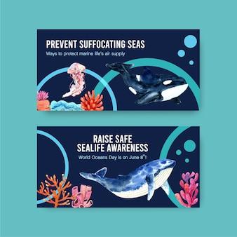 Progettazione del modello di twitter per il concetto di giornata mondiale degli oceani con animali marini, meduse e vettore dell'acquerello di orca