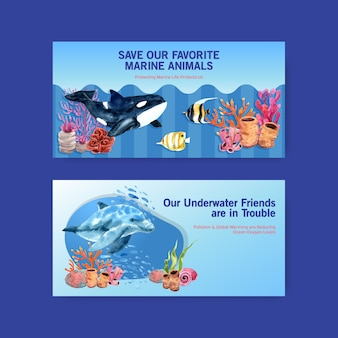 Twitter template design for world oceans day concept with marine animals,orca,dolphin and coral watercolor vector