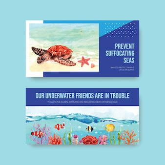 Twitter template design for world oceans day concept with marine animals and turtle  watercolor vector