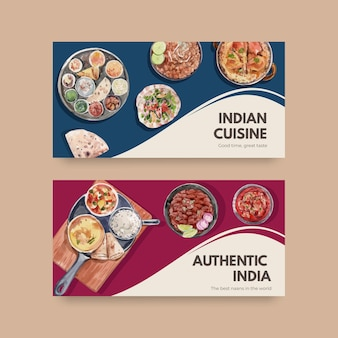 Twitter template set with indian food