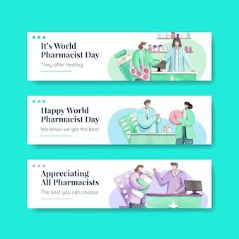 Modello di twitter impostato con la giornata mondiale dei farmacisti in stile acquerello