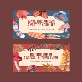 オンラインコミュニティとソーシャルメディアの水彩画のための秋の毎日のコンセプトデザインを持つtwitterテンプレート