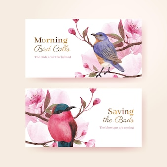 Twitter template with blossom bird concept design watercolor illustration