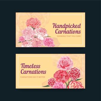 カーネーションの花のコンセプト、水彩風のtwitterテンプレート