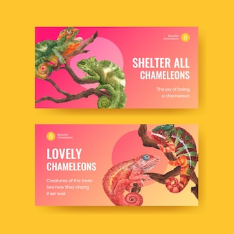 Twitter template with chameleon lizard in watercolor style