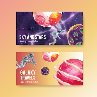 Twitter template with galaxy concept design watercolor illustration