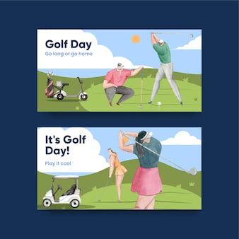 Шаблон twitter с любителем гольфа в акварельном стиле