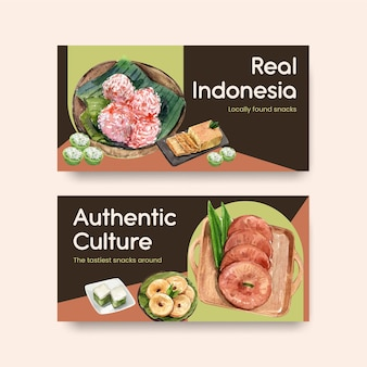 Twitter template with indonesian snack