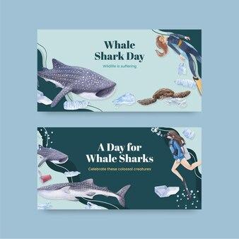 국제 고래 상어의 날 개념이 포함된 twitter 템플릿